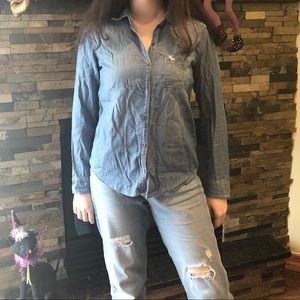 Abercrombie Kids jean button up